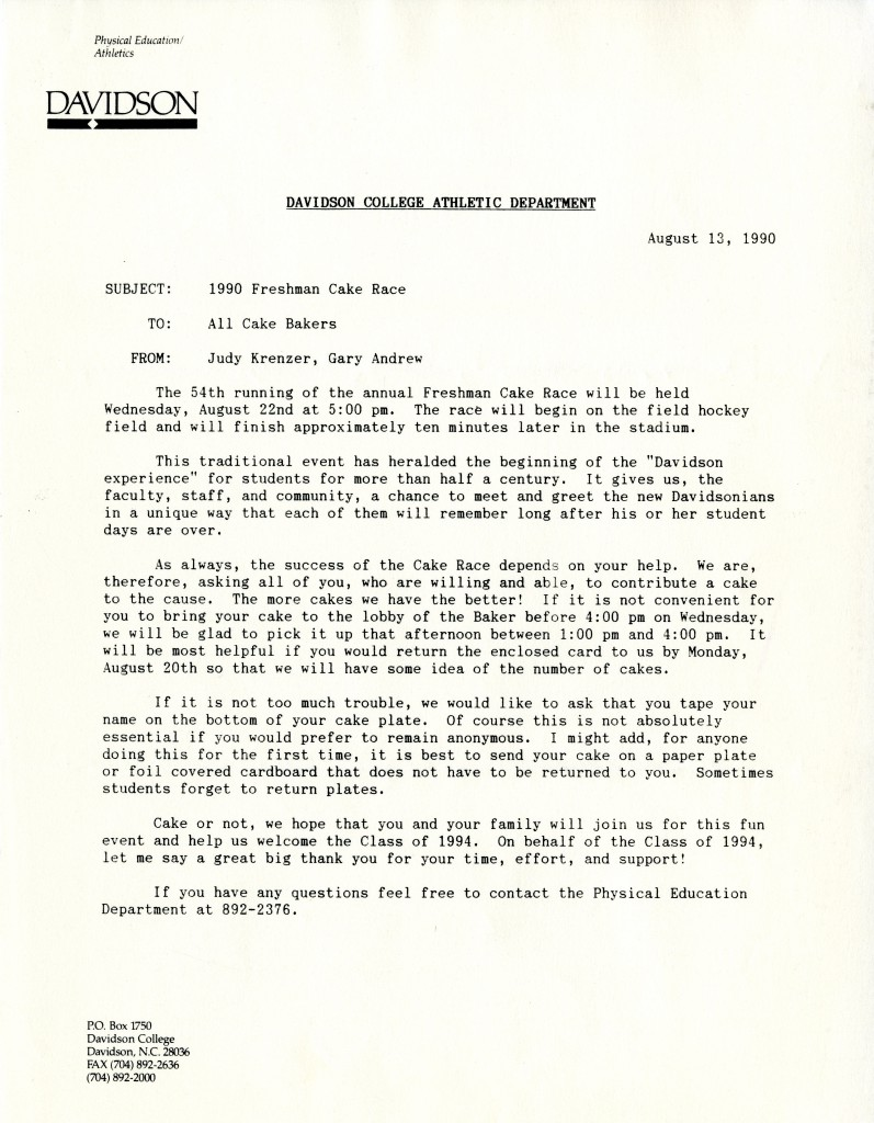"""A letter to """"All Cake Bakers"""" Cakes are solicited from College employees and townspeople alike, as this 1990 memo shows."""
