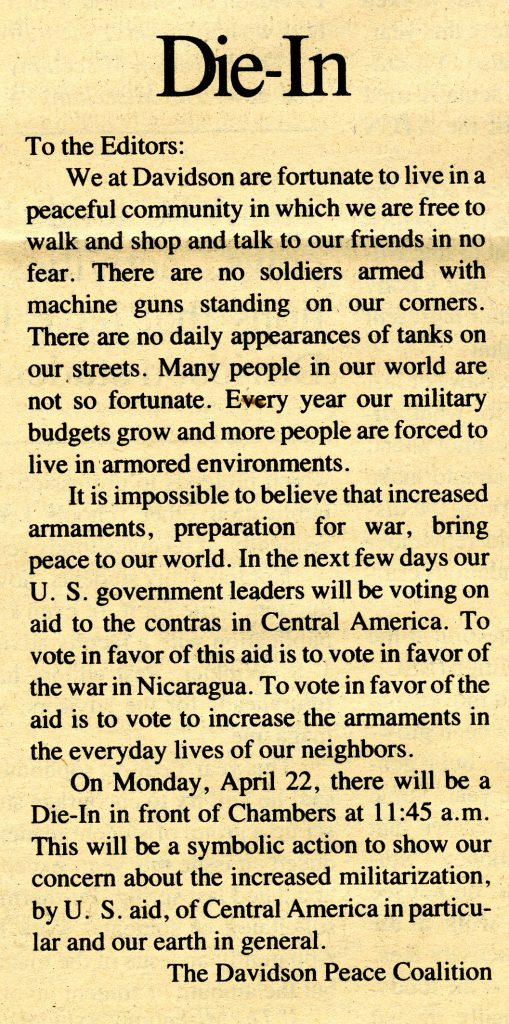 """Letter to the Editor from the Davidson Peace Coalition, April 19, 1985 titled, """"Die-In"""""""