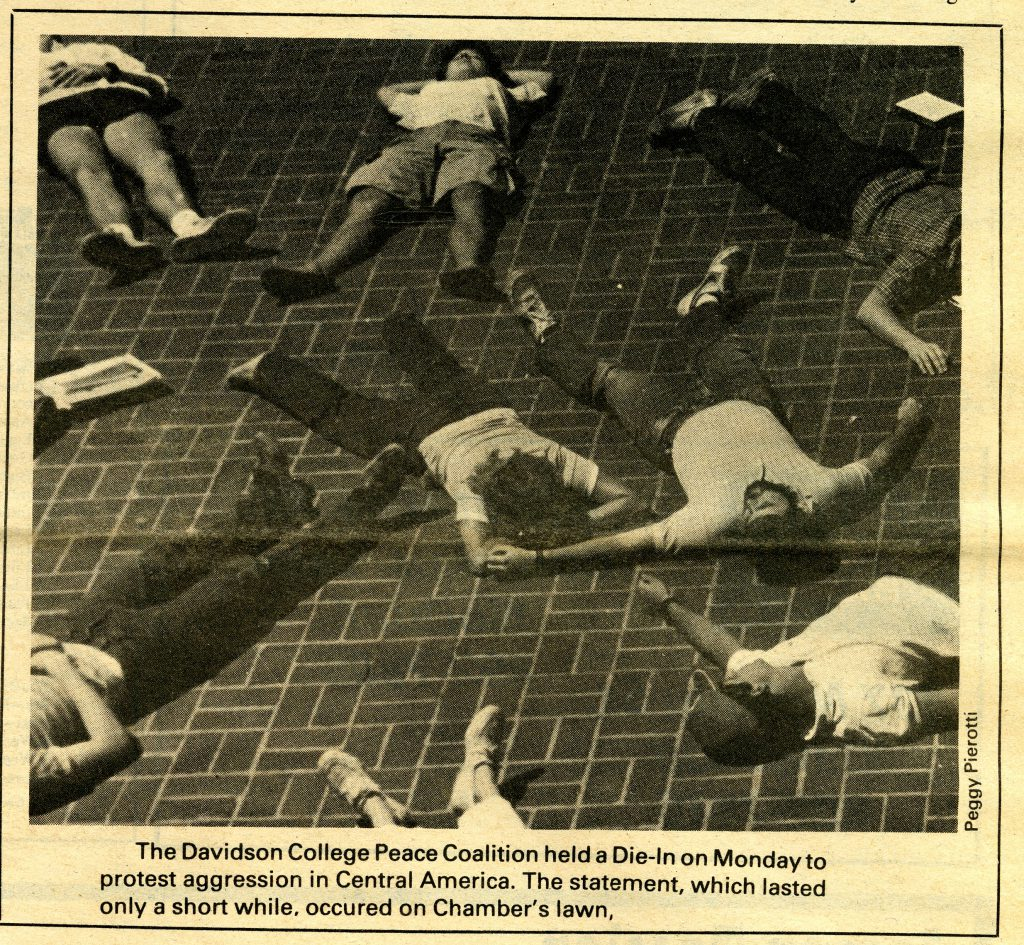 This image of the die-in ran in the April 26, 1985 issue of The Davidsonian. The image is of people lying on the ground to appear dead. The image and caption were the only coverage of the event, outside of Letters to the Editor.