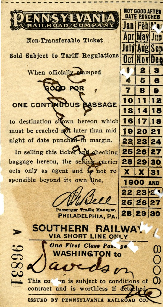 Mary's train ticket for her return to Davidson, via Charlotte.