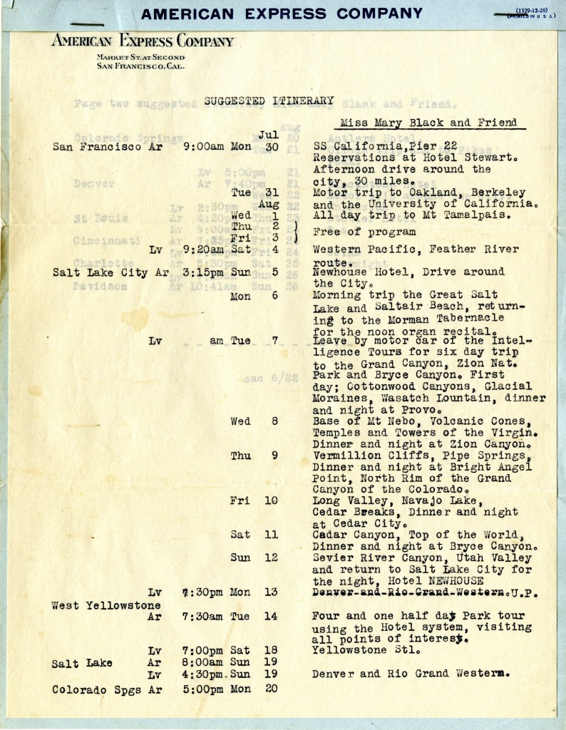 A suggested itinerary from one of Mary Black's later travels - this one is for a west coast trip. From American Express Company