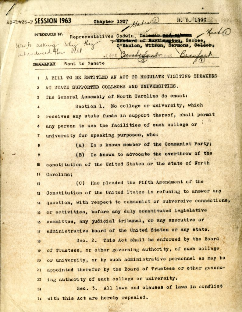 Draft of the Speaker Ban as H.B. 1395, 1963.