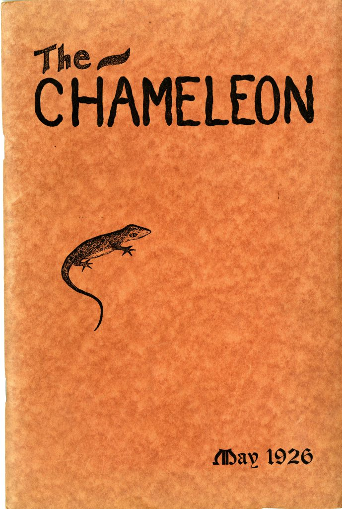 The first issue of The Chameleon, May 1926. Orange with a little chameleon on the cover.