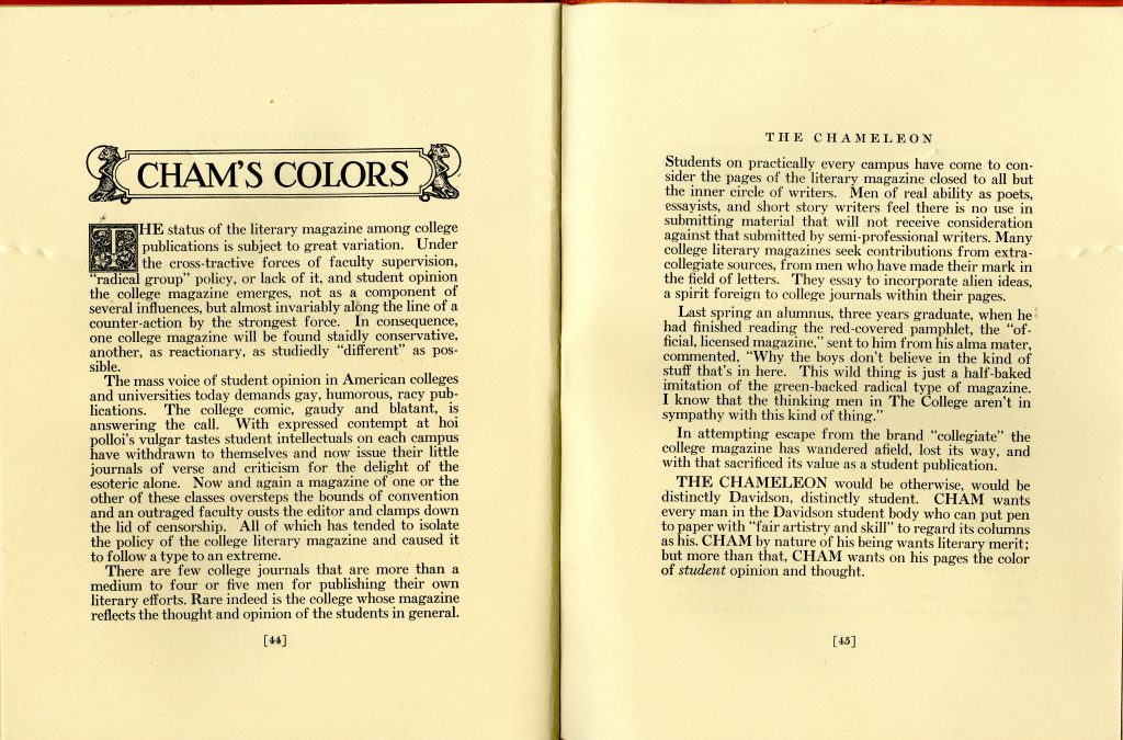 Holcombe M. Austin's full editorial in the first issue of the new Chameleon, November 1926.
