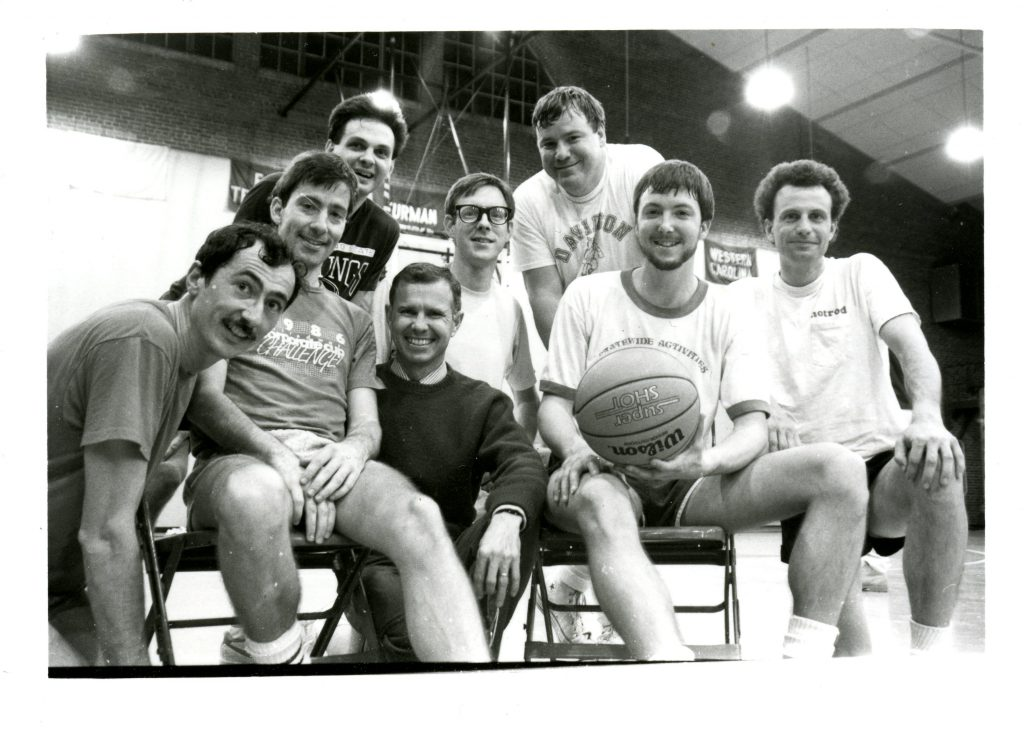 The faculty/staff intramural basketball team in 1987. Bill is on the far left.