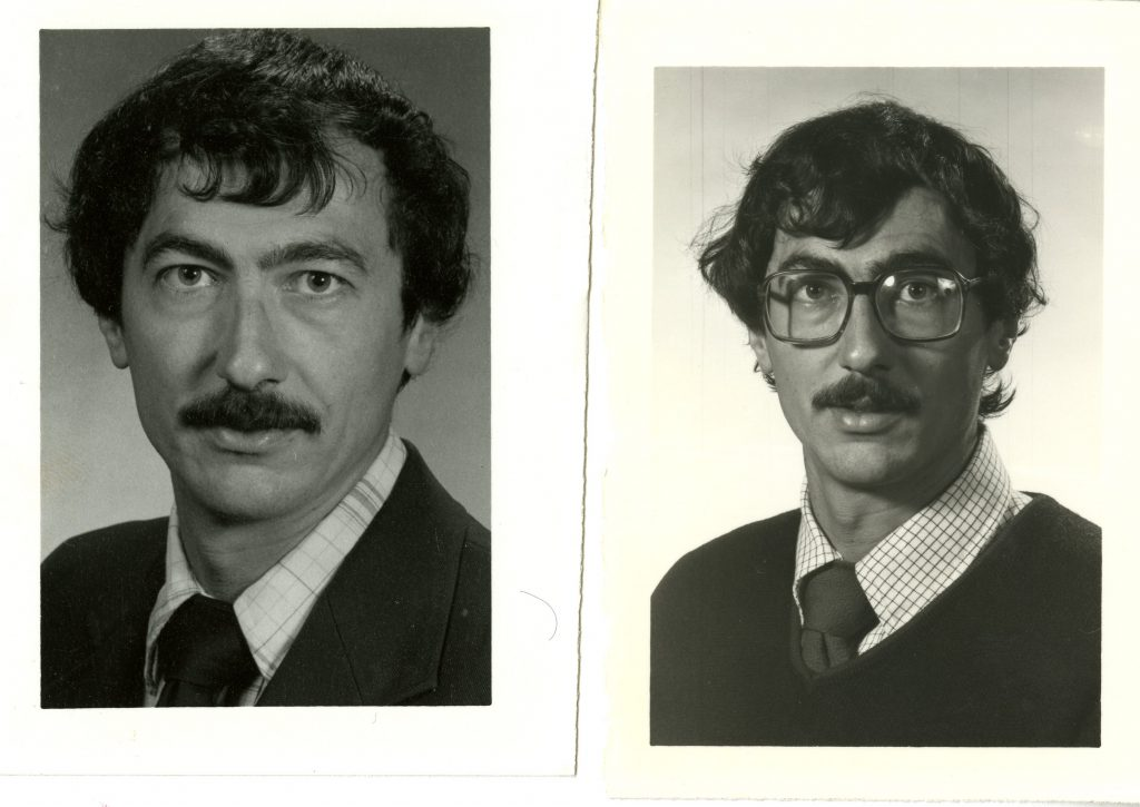 Two images of Bill Giduz from the college's personnel directory, 1983 - 1990.