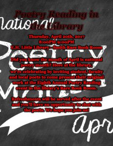 "Flyer for the 8th Annual Poetry Reading in the RBR with the words, ""National Poetry Month"" written in the background of the information"