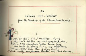 "Page in English stating, ""An Indian Love-Lament from the Sanskrit of the Chautapanchasike"""