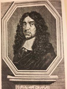 Portrait of a mustachioed man in a long curly wig, typical of the 17th century,