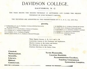 Newspaper advertisement describing course offerings and listing faculty.