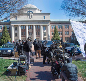 Film crew set up in front of Chambers.