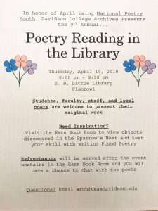 """Advertisement for """"Poetry Reading in the Library"""""""