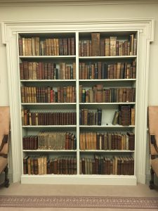 Bookshelves containing the Original Davidson College Library and the personal library of President Morrison, the first president of the college