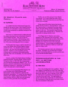 1997 Elm Row newsletter, front page. Columns describe campus plants.