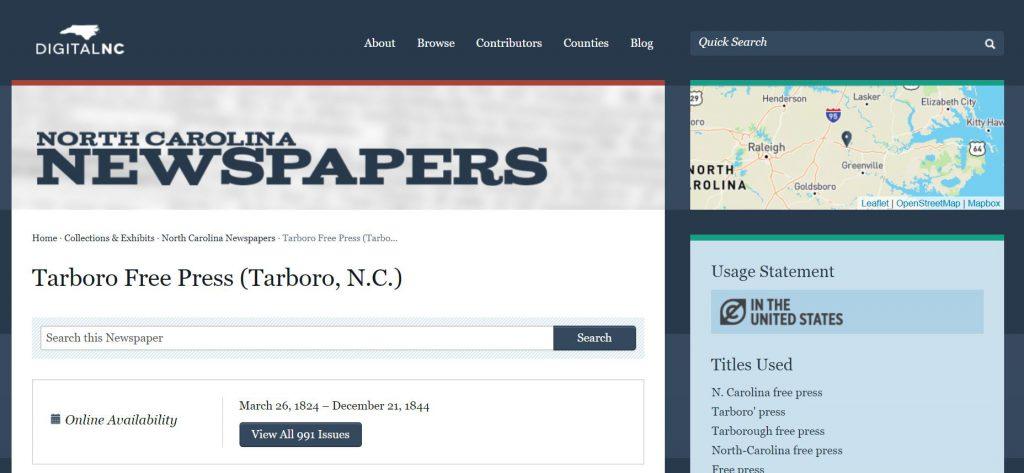 Screenshot of Tarboro Free Press newspaper landing page on DigitalNC.org.