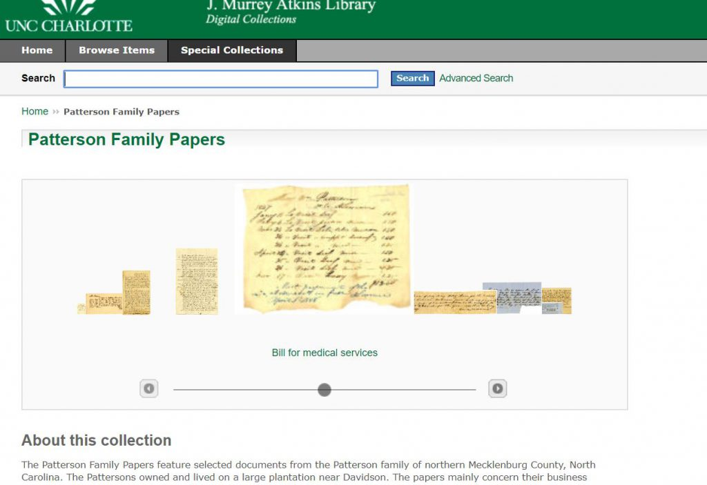 Screenshot of Digitized Patterson Family Papers found at UNC Charlotte.