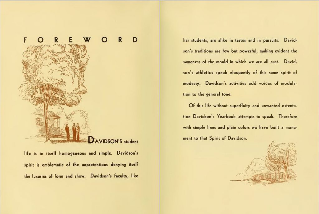 "Foreword of the 1933 Quips and Cranks discussing the ""Spirit of Davidson."" The text is framed by illustrations of campus, including male students under a tree."