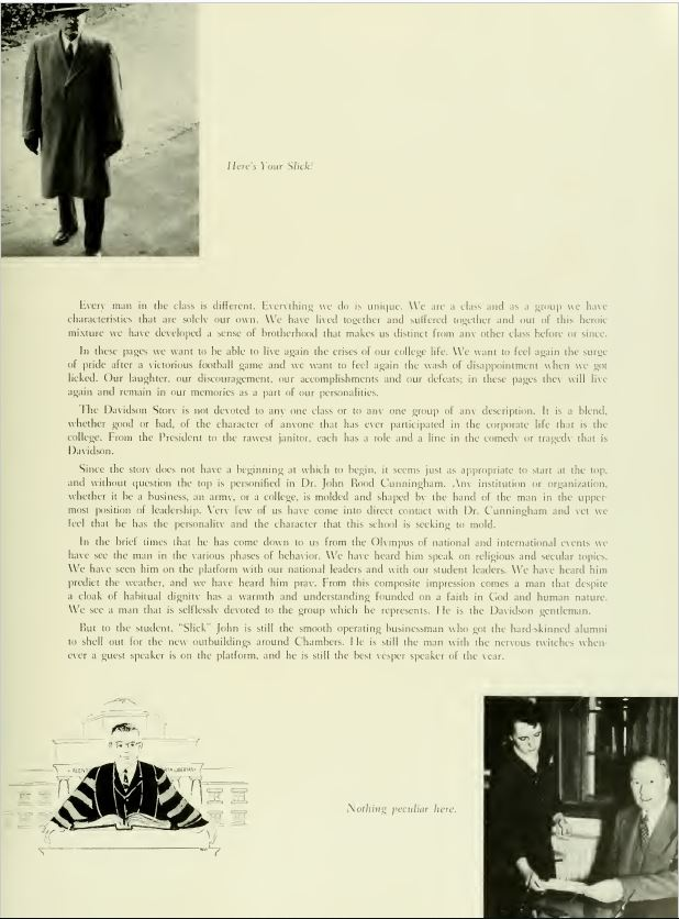 1952 Quips and Cranks foreword discussing the spirit of Davidson. Images of students and faculty line the edges of the page.