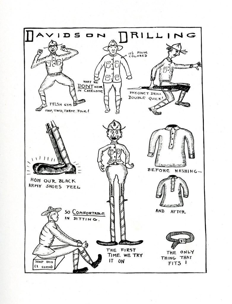 1918 cartoon drawings of military exercises