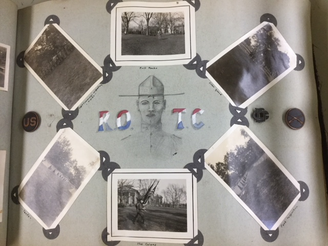 black and white photograph of 1922 James Sprunt scrapbook page for ROTC