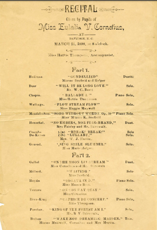 Scan of the recital program led by Eulalia Cornelius on March 21, 1898. The document lists piano solos and solo and trio vocal performances.