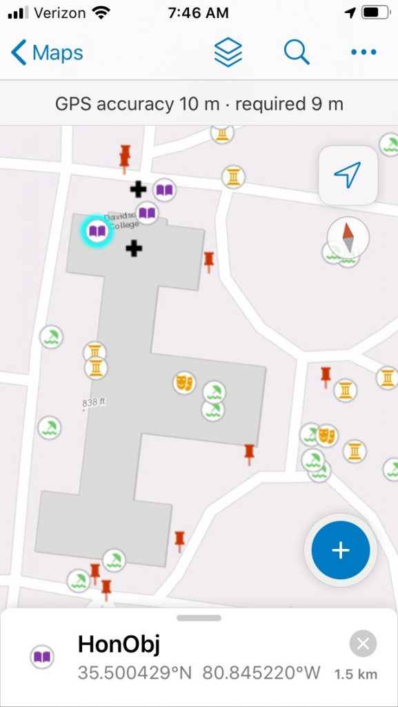 Screen shot of cell phone rendering  Davidson campus with colored icons representing activities in specific places