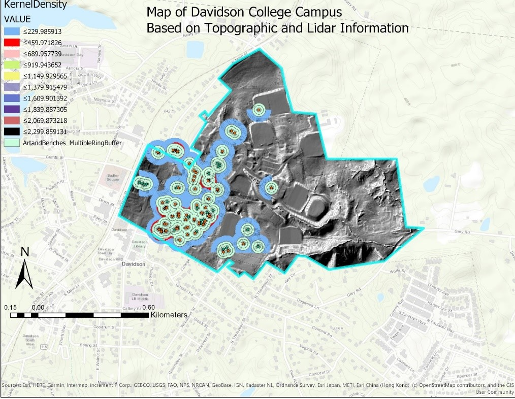 color topographic map of the art and benches on the Davidson campus