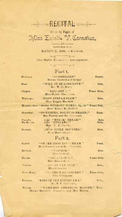 Scanned program for a music recital led by Eulalia Cornelius in 1898. Recital features solo singer, solo piano performances, and duets.