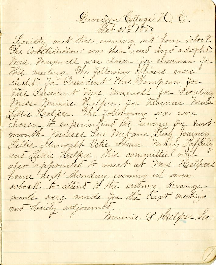 Minutes of the Ladies Benevolent Society, February 27, 1880. Members discuss meeting a Mrs. Helper's house and officer appointments.