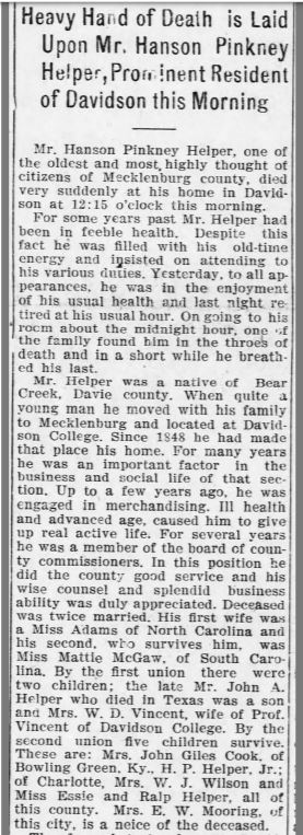 Snippet from the October 2, 1902 Charlotte News featuring H.P. Helper's obituary. The relevant content is referenced in the paragraph, below.
