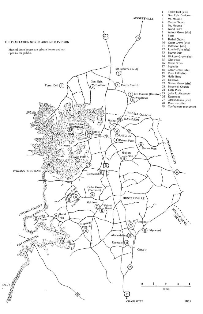 Scan of a supplemental map of  portions of mecklenburg and iredell county described in the post. Numbered circles note plantation homes and churches.