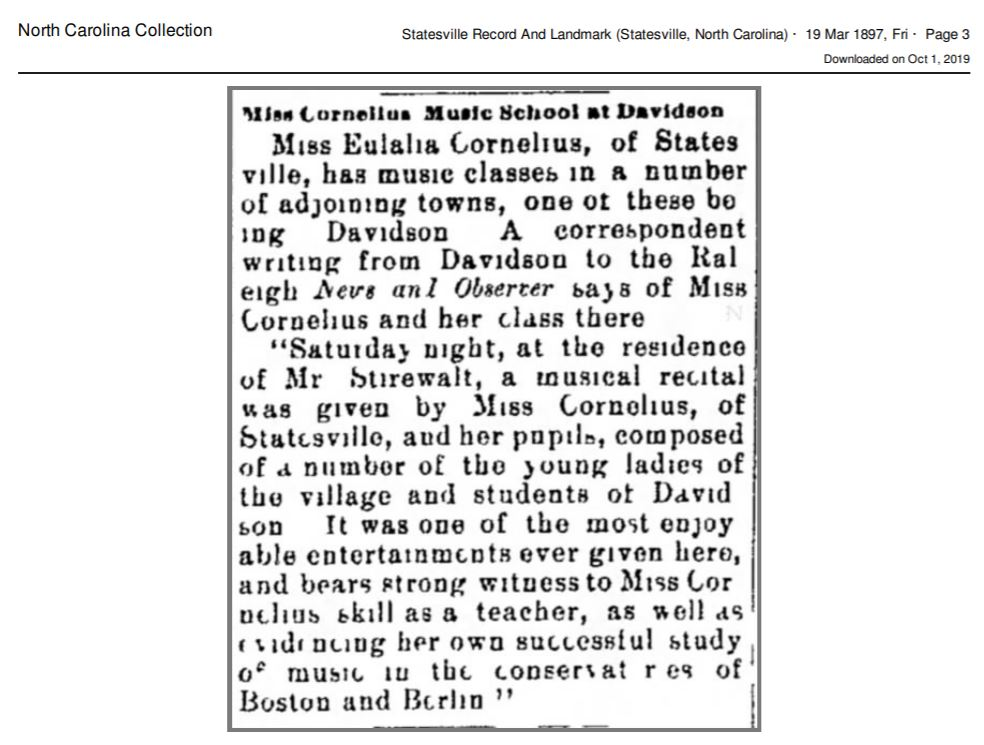 Excerpt from the Statesville Record and Landmark dated March 19, 1897. The text describes the coeducational music program led by Miss Eulalia Cornelius.
