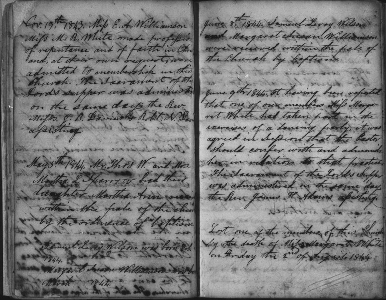 Handwritten minutes of the Davidson College Presbyterian Church from June 9, 1844. Digitized microfilm.