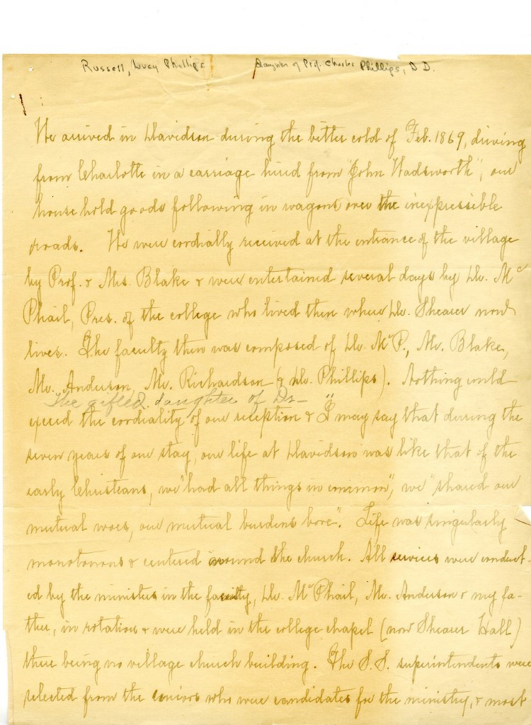 Handwritten childhood reminiscences of Lucy Phillips Russell during reconstruction in Davidson, North Carolina. Contents of the letter is discussed in following paragraphs.