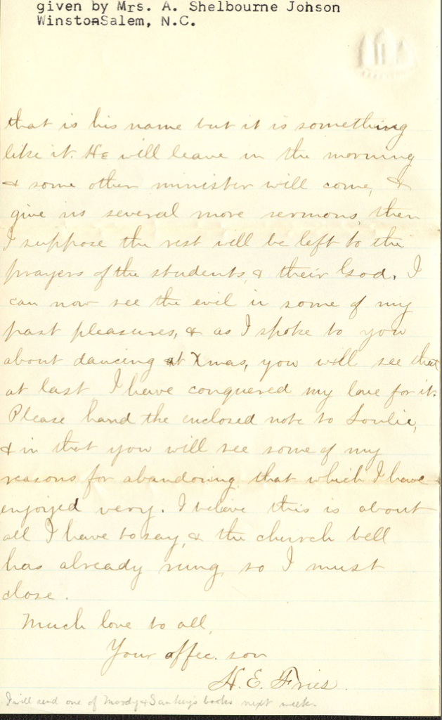 Letter from Henry Fries to his mother, April 2, 1876. Contents of the letter is discussed, below.