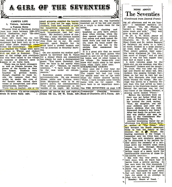 """Newspaper article titled """"A Girl of the Seventies."""" The article goes into detail about dinner parties and lodgings provided by women in the town of Davidson in the late 19th century."""