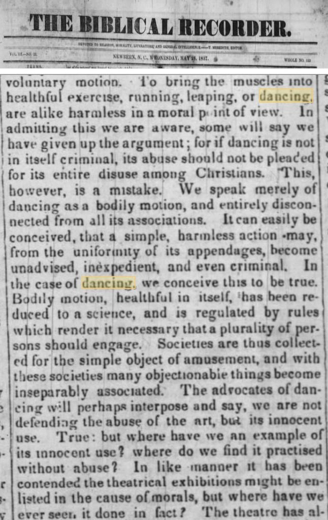 """Clipping of a digitized copy of the May 24, 1837 edition of The Biblical Recorder. Article titled """"From the Presbyterian: Dancing."""""""