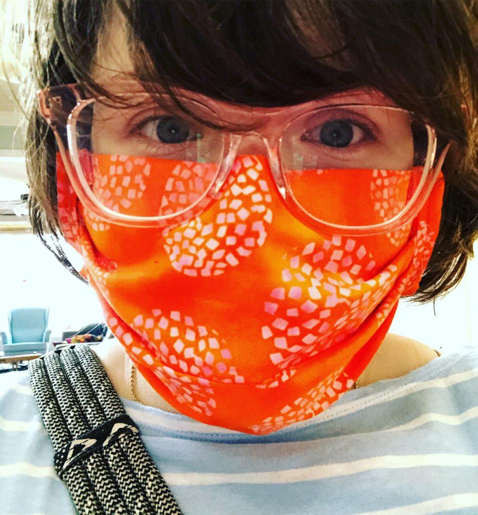 Annelise Gorensek-Benitez wearing a homemade face mask.