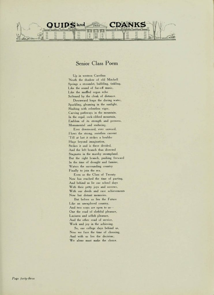 Senior Class Poem from Class of 1920 as featured in the college annual, Quips and Cranks
