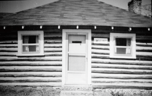 Black and white image of the front of the Mill Chapel, now known as the Lingle Hut.