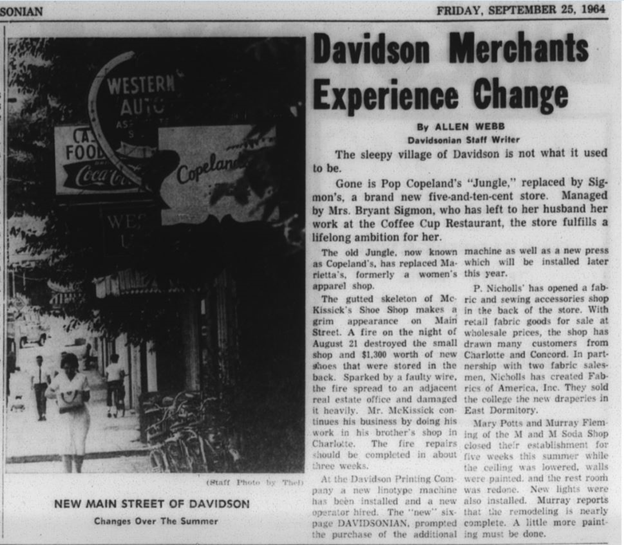 September 25, 1964 edition of the Davidsonian discussing changes to Main Street and the Coffee Cup restaurant.