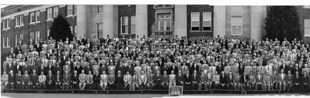 Photograph of 845 students and 63 Davidson faculty in front of Chambers in March 1955.