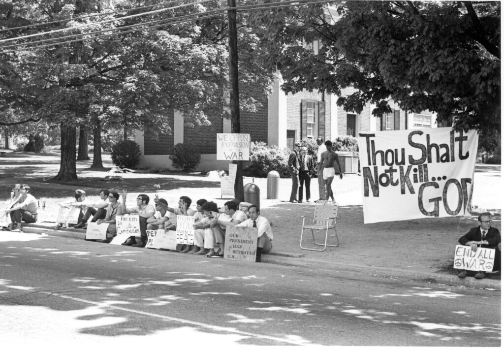 Students protesting the Vietnam War on Main Street (circa 1970s)