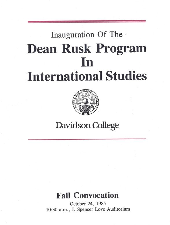 Dean Rusk Program in International Studies inaugural program
