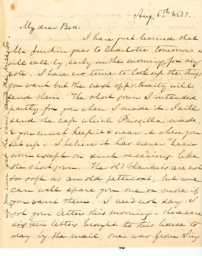 Page 1 of August 6, 1856 letter from Mary Lacy