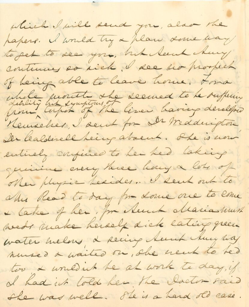 Page 2 of August 6, 1856 letter from Mary Lacy