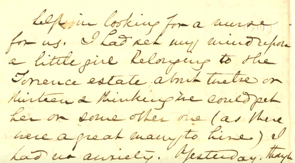 Screenshot of text from January 2, 1857 letter from Mary Lacy