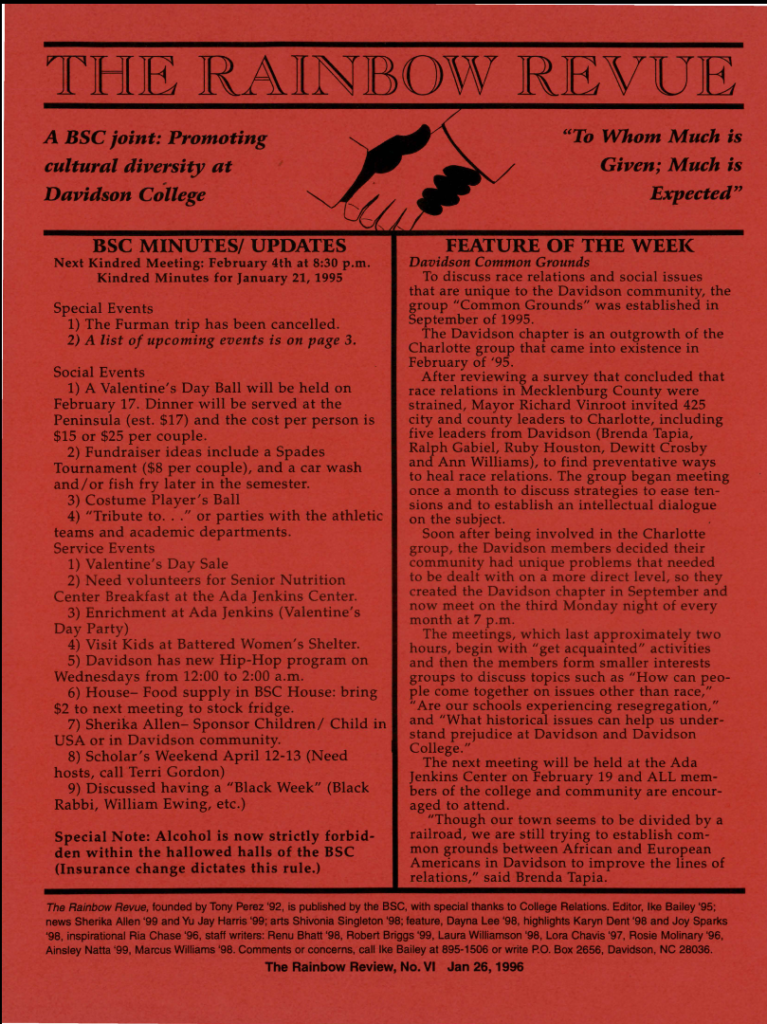 """Front page of the January 26, 1996 Black Student Coalition newsletter, """"The Rainbow Revue."""""""