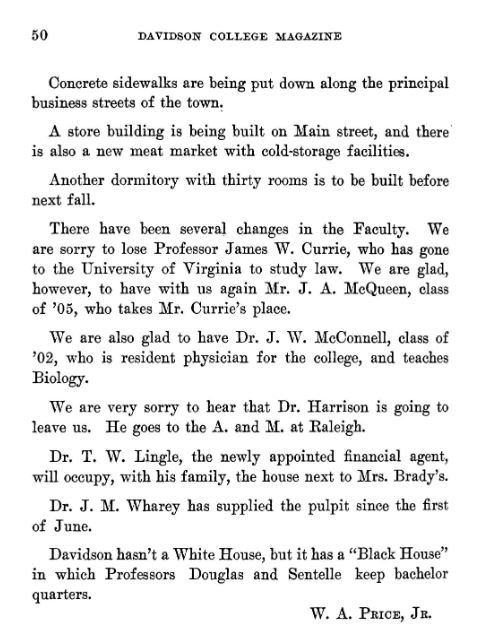 """Davidson College Magazine October 1908 page 50 of Volume 25 1908-1909. Quotes include """"a store building is being built on Main street, and there is also a new meat market with cold-storage facilities."""""""