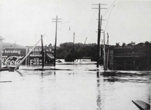 Floodwaters up to billboards